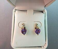 10k Gold Diamond Amethyst Heart Earrings Channel Set Purple 2.03 Grams Gemstone