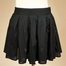 French Connection Sz UK 12 Black Cotton Pleated Circular Mini Skirt Flippy FCUK