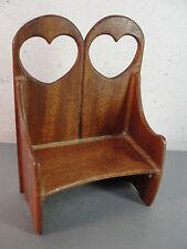 Doll House Miniature Wood Wooden High Back Bench Seat Heart Cutout Handmade Vtg