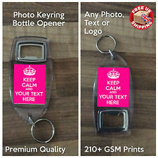Personalised Custom Text Photo Gift Bottle Opener - Keep Calm and Carry On