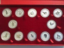 1999-2010 AUSTRALIA SILVER LUNAR COMPLETE SET 12 COINS 1OZ W/presentation R/BOX