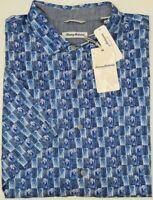 NWT $140 Tommy Bahama SS Piccolo Palms Blue Floral Shirt Mens Size XLT 2XLT 3XLB