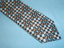 Vintage JOHN BLAIR Mod Retro Brown Rust Blue Cravat Polyester Necktie Tie 70's