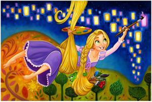 Disney Fine Art Limited Edition Canvas Painting Lights-Rapunzel- Tim Rogerson