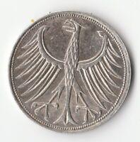 Allemagne 5 DEUTSCHES MARK 1965 F STUTTGART- argent - GERMANY - Deutschland