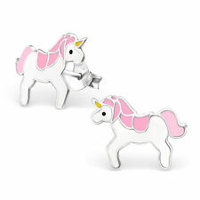 Childrens Girls Sterling Silver Pink & white unicorn Stud Earrings Boxed
