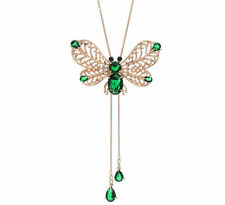 New Emerald Green Zircon Stone Butterfly Rose Gold Long Chain Necklace Pendant