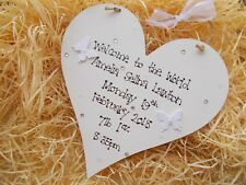 Welcome To The World Baby Wooden Heart Plaque Keepsake Gift
