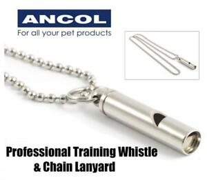Ancol Constant Frequency Professional Dog Training Whistle & Chain Lanyard
