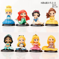 NEW 8x Princess Mini Figures Cake Toppers Toy Gift Dolls Ariel Cinderella Belle