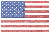 Words USA Flag Mural inch Poster 36x54 inch