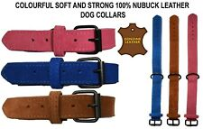 Dog Collar Soft Nubuck 100% Finest Quality Leather Collar for Pets