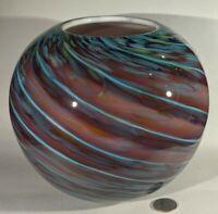 Beautiful Swirled Round Cased Art Glass Vase Hand Blown