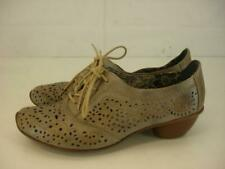 Womens 8 8.5 39 Rieker Antistress Mirjam Gray Leather Shoes Oxford Cut-Out Heels