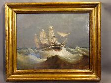 19thC Antique VICTORIAN SEASCAPE Shipwreck CLIPPER SHIP Rough Sea OIL PAINTING