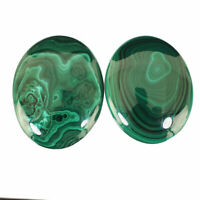 2 Pcs Natural Malachite AAA Finest Green Oval Cabochon Loose Gemstones 40mm-42mm