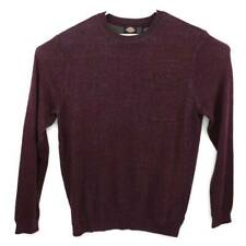Dickies Mens Sweater Burgundy Marled Long Sleeve Crew Neck Cotton Pullover L New