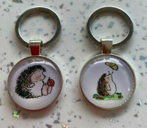 Handmade hedgehog cute glass front key ring key chain keyring fob bag charm
