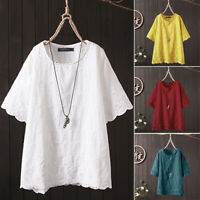 ZANZEA Women Summer T-Shirt Tops Loose Tee Shirt Blouse Round Neck Ladies Tops