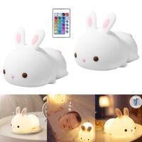 Cute Rabbit Silicone Nightlight Animal Lamp for Girls Child Toddler Bathroom