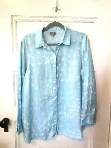 J Jill Aqua Blue Bird Print Linen Shirt Blouse M Swallows Oversize Button Front