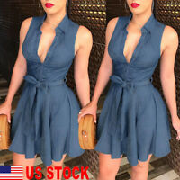 Women Summer Bodycon Denim sleeveless Short Dress Party Evening Mini Dress US