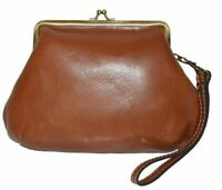 Patricia Nash Savena NWT Tan Leather Kiss Lock Clutch Wristlet Bag MSRP $69.00!!