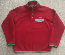 Patagonia Womens Synchilla Snap T Fleece Pullover Sweater Pink Green Small