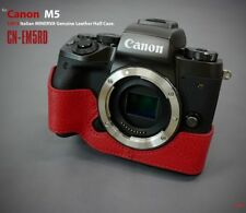 LIM'S Genuine Italy Leather Camera Half Case Cover For Canon EOS M5 - Red