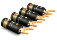 4 Stück Viablue T6s / HighEnd Kabelschuhe / 6,0 - 9,5mm Gabelweite / 4er Set