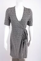 Josephine Chaus Womens Wrap Dress Petite Small PS Geometric Black White Career