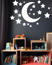 Moon and Stars Personalised Name Wall Stickers Decals Baby Kids Nursery 20xStar