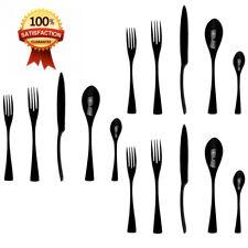 JANKNG 18/10 Stainless Steel Flatware Set,Luxury Black Cutlery Silverware...