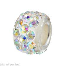 5 FP Perles Charms Grand Trou(5mm) Couleur AB Strass Pour Bracelet 11x7mm