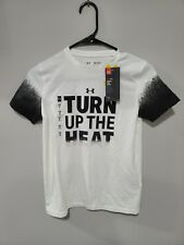 Under Armour Boys Turn Up The Heat Short Sleeve Tee Size YMD White