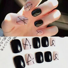 24Pcs/Set French Fake Nails Full Nail Cover Finger Press-On Nails Decor 2g Glue