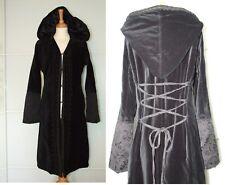 FRANSA Black Velvet Vintage Coat Medieval Gothic Steampunk Style size UK 10 - 12