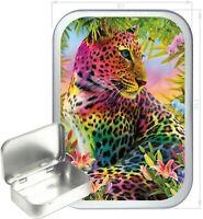 Rainbow Leopard Gift Box,150ml Silver Hinged Tin,Tobacco Tin,Storage Tin