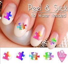 Autism Awareness Ribbon Puzzle Pieces Nail Art Decal Sticker Set AUT902