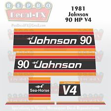 1981 Johnson 90 HP V4 Sea-Horse Outboard Reproduction 6 Pc Marine Vinyl Decals