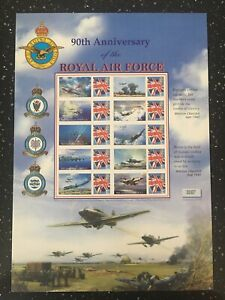 90TH ANNIVERSARY OF THE RAF. LOVELY SHEET FROM BUCKINGHAM. 1918 SHEETS PRINTED.