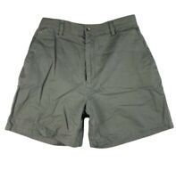 Eddie Bauer Women Size 10 Chino Khakis Shorts High Waisted Pockets Cotton Green