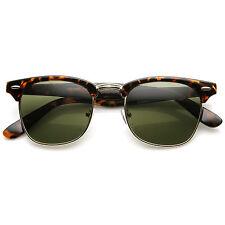 Designer Inspired Half Frame Wayfarer Tortoise Sunglasses GD-Green Lens