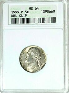 1999 Jefferson Nickel Double Overlapping Curved Clips ANACS MS64 Mint Error