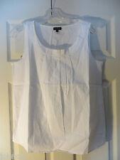 Talbots Petites Size 6P Women's White Sleeveless Front Pleated Blouse Top NWT
