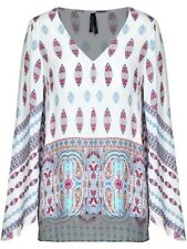 Crossroads Paisley Print Viscose Fluted Blouse /Top - High/Low Size 14 Free Post