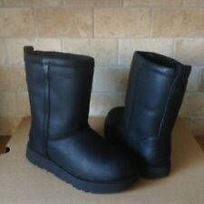 UGG Classic Short Black Waterproof Leather Sheepskin Boots Size US 8.5 Womens