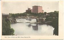View of the Falls and Mill in Sioux Falls SD Postcard 1909