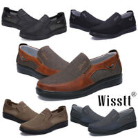 Men's Leather Casual Slip On Shoes Splicing Breathable Antiskid Loafers Moccasin