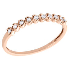 Right Hand Promise Ring 1/10 Ct. 10K Rose Gold Diamond Hearts Love Stackable